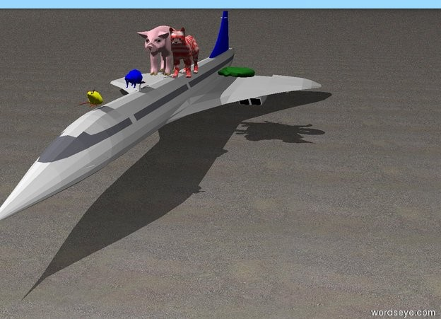 Input text: a big pink pig. the ground is sand.the pig is on top of a very small plane.a big red and white cat is on the plane.a snake is 2 feet to the right of the pig.a blue beaver is 1 foot in front of the pig.a yellow mouse is 3 feet in front of the beaver.
