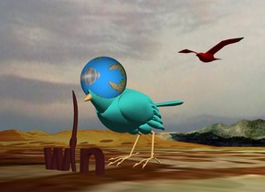 """the humongous turquoise sparrow is on the tall klee mountain range. the bird is tilting forward. the globe is -28 inches above the HEAD of the bird. the globe is 40 inches wide. the sky is cloudy.   The humongous brown worm is in front of the bird. it is face down. the large brown """"w"""" is to the left of the worm. the large brown """"n"""" is to the right of the worm. a huge red bird is a foot above and 3 feet behind the sparrow."""