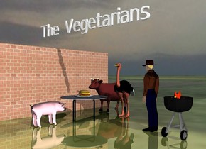 """the table is on the shiny grass ground. The large plate is on the table. The large hamburger is on the plate. The man is 5 feet to the right of the table. He is facing the table. the [brick] wall is a few feet to the left of the table. it is facing the table. the sky is cloudy. it is morning.  The brown cow and ostrich are behind the table. they are a couple of feet apart. the large pink pig is in front of the table. It is facing the table.  The """"The Vegetarians"""" is 6 feet above the burger. The grill is a foot to the right of the man. the small campfire is in the grill."""