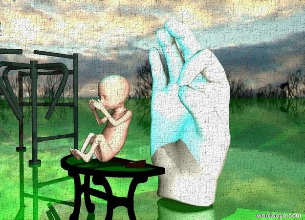 Input text: the huge baby is on the small table. it is cloudy. the ground is green and shiny.  a enormous hand is a foot behind the table.  a cyan light is above the baby. it is dawn.  A large gate is 3 feet left of the table. it is facing the hand.