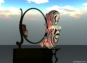 the enormous zebra skin baby is on the small table. it is cloudy. the ground is black and shiny. it is dusk. the red light is 2 feet  right of the table.  the very large mirror is 3 feet in front of the table.