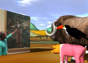 the large [sree] cube is on the tall matisse mountain range. the very small musk ox is 2 feet in front of the cube. it is facing the cube. the small [pattern] pig is a few inches to the left of the musk ox. it is facing the cube. the small toucan is on the pig. it is facing the cube. the small dog is 1.5 feet to the right of the musk ox. it is facing the cube. it is cloudy.