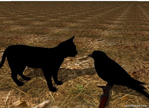 Input text: the black cat. the ground is dirt. it is cloudy.  the large black bird is  3 inches in front of the cat. it is facing the cat.