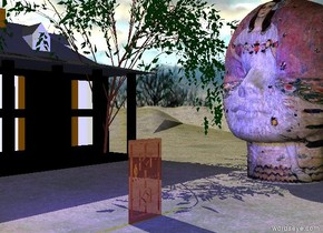 there is a shiny door.  the door is on the grass mountain range. the mountain range is very tall.  a blue light is 3 feet above the door.   a black house is 30 feet left of the door. the house is facing right.  it is cloudy.  a very enormous klimt head is 15 feet behind the door. the door is facing right.  the willow tree is left of the head.