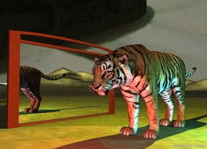 the extremely wide mirror is on the dirt mountain range. it is cloudy. the tiger is three feet to the right of the mirror. the mirror is facing right.  the yellow light is 1 foot above the tiger. a cyan light is a foot right of the tiger. a red light is in front of the tiger.   the sky has a  [night] texture