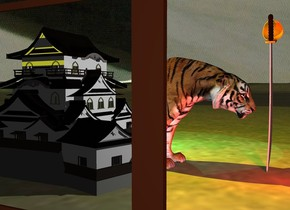 the extremely wide mirror is on the dirt mountain range. it is cloudy. the tiger is three feet to the right of the mirror. the mirror is facing right.  the yellow light is 1 foot above the tiger. a cyan light is a foot right of the tiger. a red light is in front of the tiger.   the sky has a  [night] texture.  the 3 feet tall castle is 1 foot left of the mirror.  the sword is in front of the tiger.