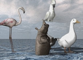 the large cockatoo is on the large silver cube. the ground is water. it is cloudy. the flamingo is a foot left of the cube. it is facing the cube.  a large duck is in front  of the cube. a tiny rhino is a foot left of the duck. it is in the ground. it is facing up.