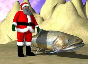 the huge fish is on the grass mountain range. the mountain range is 60 feet wide. it is cloudy.  the very small Santa is next to the fish.