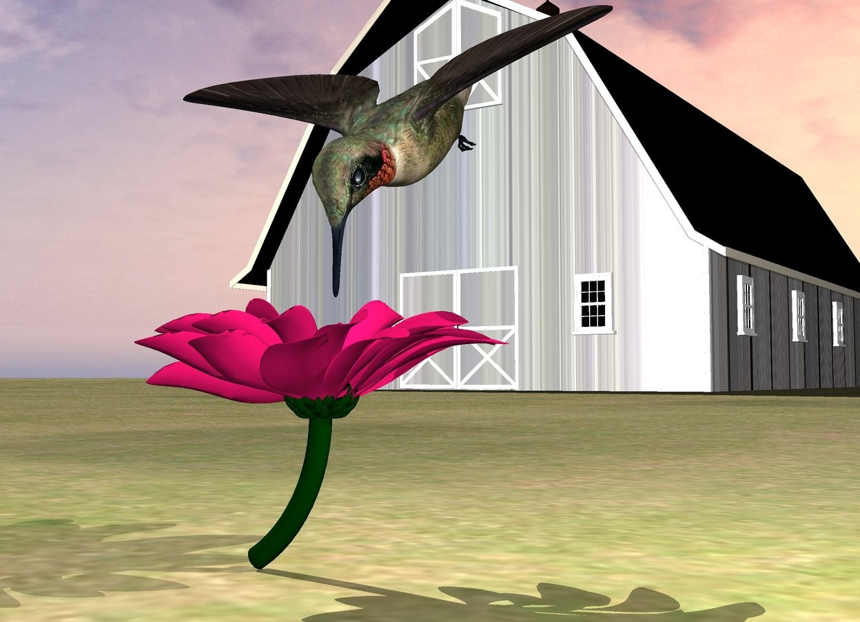 Input text: the large bird is above the flower. the bird is facing down. the bird is  behind the flower. the ground is grass. it is cloudy.  the small wood barn is 20 feet behind the flower. it is to the left of the flower.  the roof of the barn is black.  the gray light is to the right of the bird.