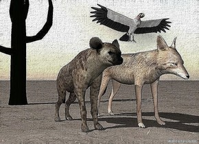 the hyena is a foot from the jackal. the large vulture is above them.  the ground is dirt. it is cloudy. the cactus is 6 feet behind the hyena.