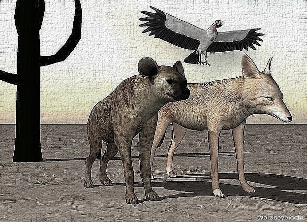 Input text: the hyena is a foot from the jackal. the large vulture is above them.  the ground is dirt. it is cloudy. the cactus is 6 feet behind the hyena.