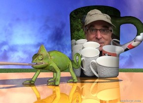 the shiny table is on the grass ground. the [gary] mug is on the table. it is cloudy. the animal is a couple of inches to the right of the mug. it is facing right.
