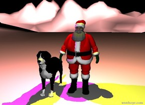 Santa Claus is on the extremely tall white mountain range. the large dog is next to him.  a huge yellow illuminator is above santa. a huge magenta illuminator is above the dog.  it is night.