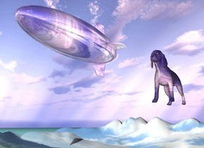 The shiny [sky] blimp is -20 feet above the very tall [landscape] mountain range. it is cloudy. the ground is water.  the very huge [sky] cocker spaniel is below and 20 feet to the right of the blimp.