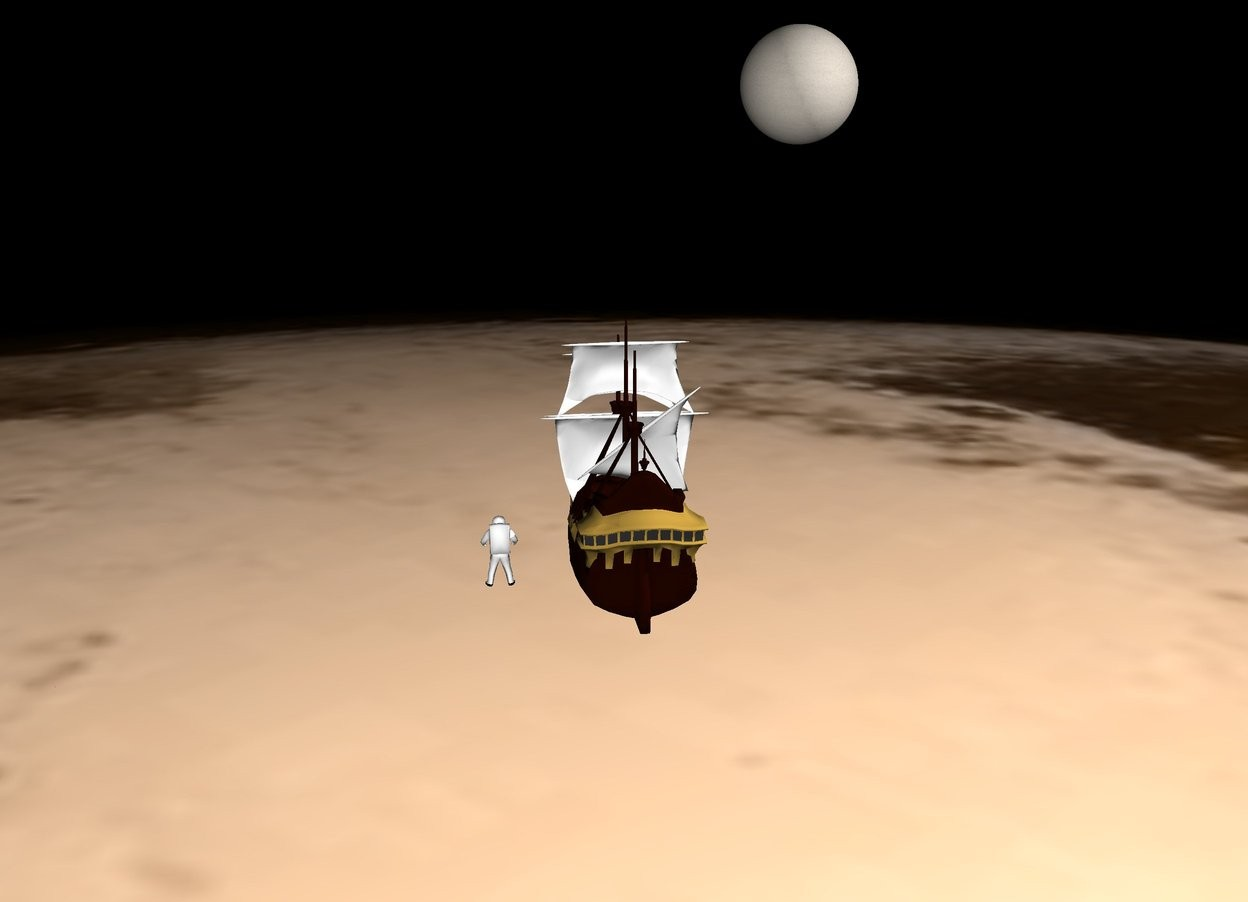 Input text: The ground is [pluto]. The sky is black.   The galleon is 200 feet above the ground. The large astronaut is 4 feet to the right of the galleon.  The [charon] sphere is 170 feet in front of and 10 feet above and 50 feet to the left of the galleon. It is 35 feet wide and 35 feet tall and 35 feet long.