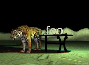 "the ""foo"" is on the table.  a large tiger is next to the table. it is cloudy.  the table is on the very tall dirt mountain range.  the cyan light and orange light are three inches above the ""foo"". they are to the right of the table. it is night."