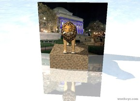the ground is shiny. the lion is in front of the small [university] wall. it is on the brick  slab. it is cloudy.