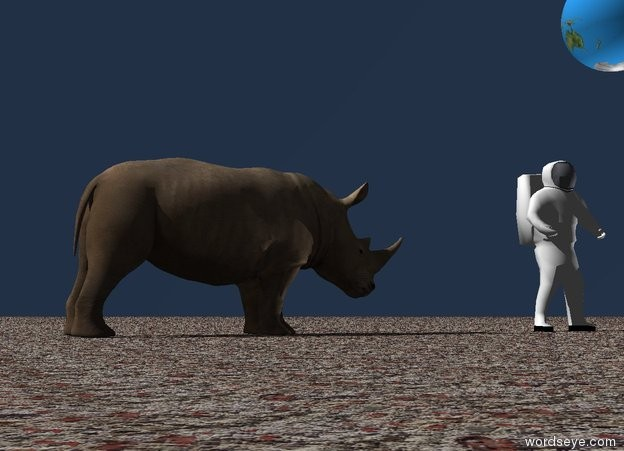 Input text: the huge earth sphere is 10 feet above the ground.the sky is dark. the ground is rock.  the astronaut is on the ground. the camera light is black. the very bright white light faces the sphere.  the rhinoceros is 5 feet away from the astronaut. it is facing the astronaut.
