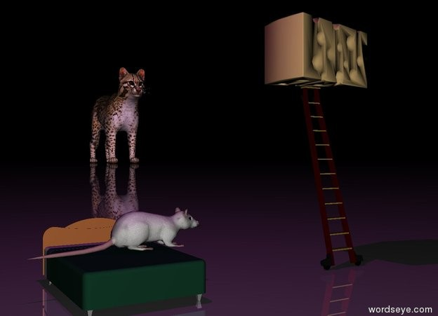 Input text: The very tiny bed is a foot to the left of the very tiny ladder. the rat is on the bed. it is facing the ladder. The big cheese is on top of the ladder. it is facing right. it is night.  the ground is shiny. the purple light is 2 feet above the rat.  the enormous cat is 60 feet behind and 20 feet to the right of the ladder.