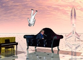 The [elton john] couch. the small silver rocket is 20 feet behind the couch. the small gold piano is 1 foot in front of and to the left of the couch. it is facing right. the shiny tile ground.  the small upside down astronaut is above and -2 feet to the left of the couch. he is leaning left.