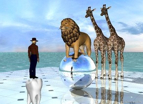 the small lion is -6 inches above the large silver sphere. the sphere is on the shiny tile floor. the ground is water. the two small giraffes are 1 foot behind the sphere. the enormous white tooth is 2 feet in front of the sphere. the tiny man is on the tooth. he is facing the sphere.