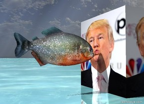 the [trump] cube. the shiny ground is water. the fish is 1 inch to the left of the cube. it is 4 inches above the ground. it is facing the cube.