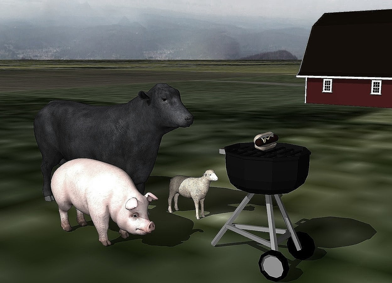 Input text: a pig, cow, and small sheep are 1 foot behind the grill. the ground is grass. it is cloudy. the small barn is 40 feet to the right of the cow. the hot dog is on the grill.