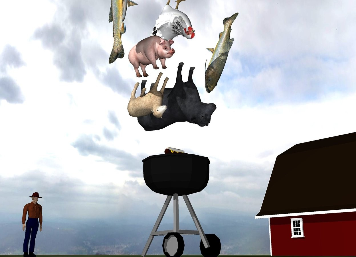 Input text: the hot dog is on the grill. a small upside down cow is 6 inches above the hot dog. A small upside down sheep is next to the cow. it is leaning left. the ground is grass. it is cloudy. the small barn is 20 feet to the right of the grill. the small pig is above the sheep. it is leaning right. the huge trout is 2 feet to the right of the pig. it is leaning left. it is face down. the large upside down chicken is above the pig. it is to the right of the pig.  the second huge fish is 6 inches to the left of the pig. it is face up.  the small man is 8 feet behind the grill.