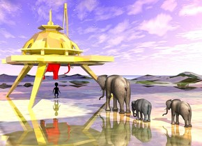 the gold structure is on the shiny klee mountain range. the elephant is a few feet to the left of the structure. it is facing the structure. it is cloudy. the [color] ground is shiny. the black alien is under the structure. it is facing the elephant. two small elephants are 9 feet to the left of the elephant. they are facing right. the red elephant is a foot above the alien.