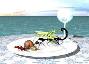 the shiny plate is on the [pattern] table. the 5 bugs are on the plate. the water glass is to the right of the plate. it is cloudy. the ground is water.