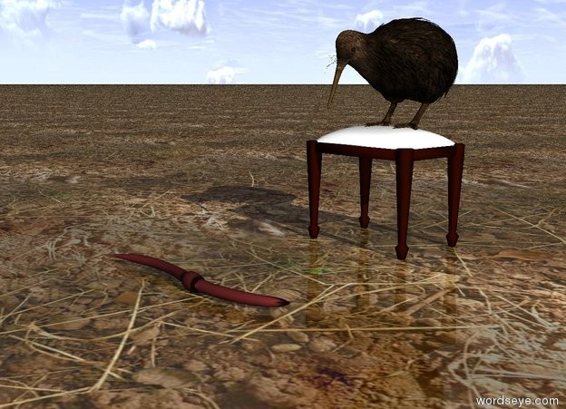 Input text: the kiwi bird is on the tiny stool. the ground is dirt. the huge brown worm is a foot in front of the stool. it is facing right. it is morning.