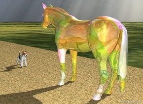 the yellow brick road is on the grass ground. the glass horse is on the road. the road is 80 feet long. the white dog is a few feet in front of the horse. it is facing the horse.