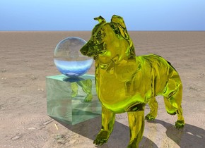 the transparent sphere is on the glass cube. the transparent yellow collie is a foot to the right of the cube. the ground has a dirt texture.