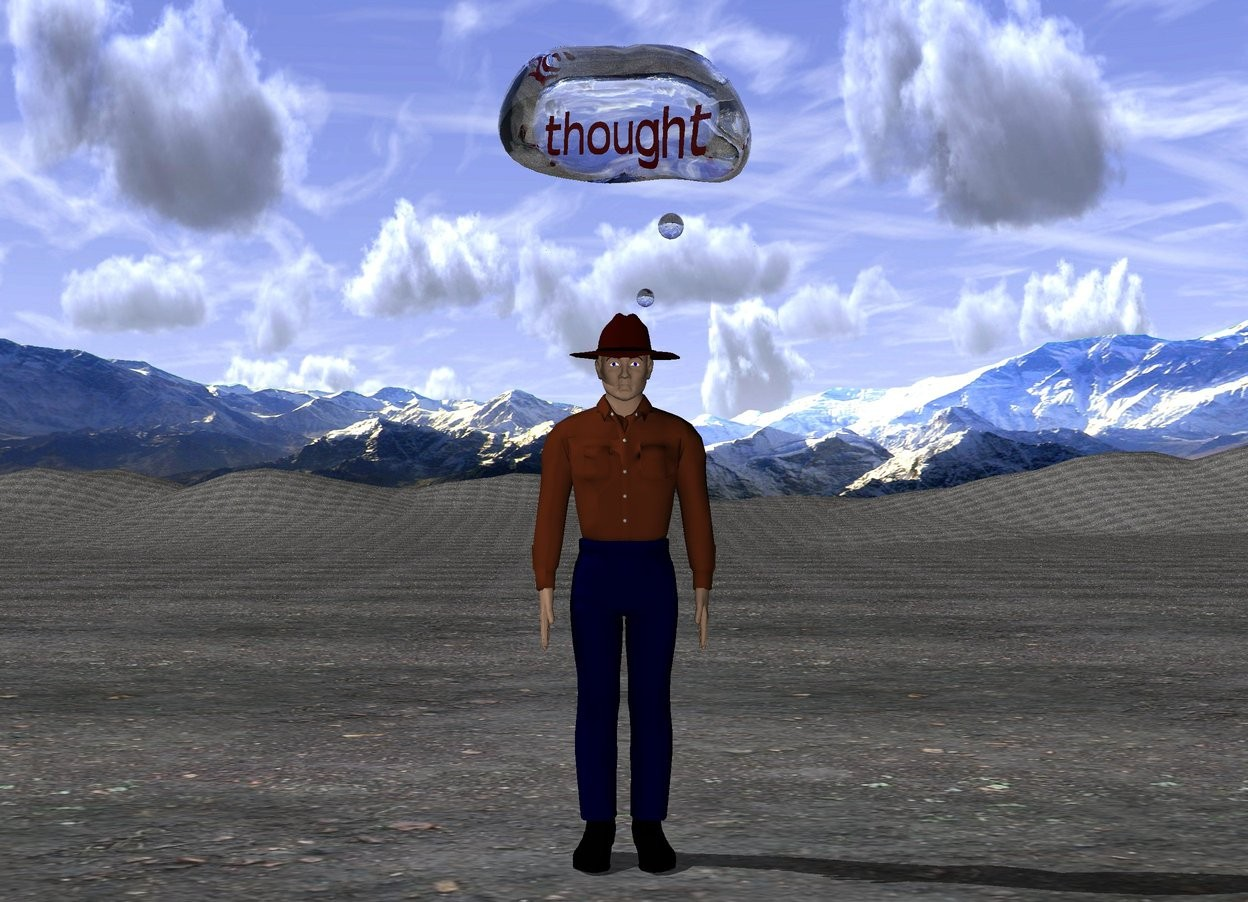 "Input text: The man is on the dirt mountain range.  The white transparent thought bubble is above the man.  The tiny red ""thought"" is inside the thought bubble.  The short mountain background."