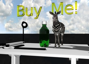 """the bottle is on the white table. the transparent gold tiny """"Buy Me!"""" is an inch above the bottle. the ground is black.  A one foot tall zebra is an inch to the right of the bottle."""