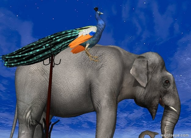 Input text: the small coat rack is 6 feet to the left of the elephant. the ground is dirt. the small peacock is -6 inches above the coat rack.