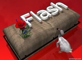 """""""Flash"""" is on the wood box. it is facing right. it is face up. the dodo is to the right of the box. it is facing the box. the [network] ground. the tiny flower is in front of the """"Flash"""". it is on the box. the blossom is next to the flower."""