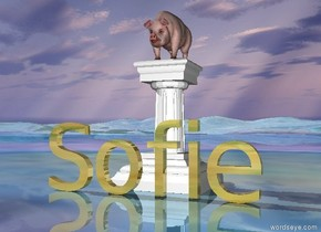 "the pig fits on the small pedestal. the pedestal is on the shiny matisse mountain range. The gold ""Sofie"" is several inches in front of the pedestal."
