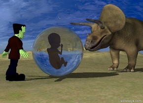 the monster is on the grass mountain range. it is facing right. the enormous transparent sphere is a couple of feet to the right of the monster. the huge dinosaur is to the right of the sphere. it is facing the sphere.   the enormous fetus is 7.5 feet in the sphere.