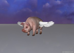 the  pig is 6 feet above the ground. it is pink. the white wing is left of it. the second white wing is right of the pig. it is facing backward. the wings are 7 feet above the ground. they are large.