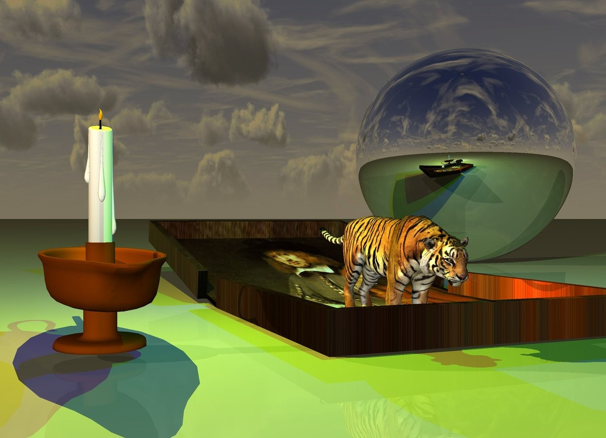 Input text: the tiny tiger is on the rembrandt pizza box. a large candle is a foot left of the tiger. it is facing left.  it is dusk. a yellow light is above the candle. a green light is a foot above the tiger.  A very large silver sphere is behind the box. it is a foot right of the box. a blue light is above the box.