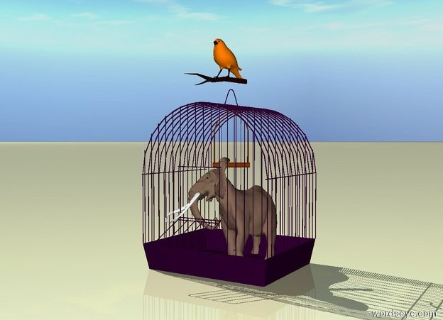 Input text: the elephant fits in the purple birdcage.  the bird is on the cage.  the ground is pale yellow.