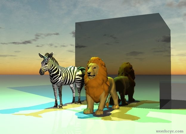 Input text: the huge shiny black cube is behind the small lion.  the small zebra is one foot to the left of the lion.    The cyan light is two feet above the zebra. The yellow light is two feet above the lion.