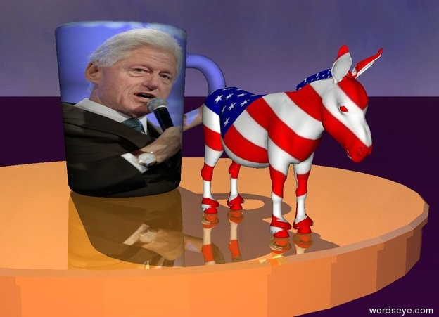 Input text: The small shiny table is on the purple ground. The [clinton] mug is on the table. The 4 inch tall donkey is two inches to the right of the mug. The donkey has a [flag] texture. It is facing right.