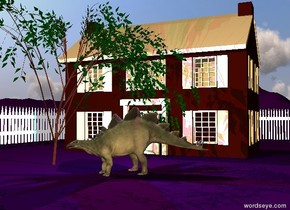 The house is on the extremely tall purple mountain range.   a white fence is 20 feet left of the house. it is facing right. it is 100 feet long and 8 feet tall. another white fence is 30 feet behind the house. it is 100 feet long and 8 feet tall.  a small willow tree is in front of the house. a small dinosaur is  5 feet to the right of the willow. it is facing southwest. a magenta light  and a cyan light are above the dinosaur.