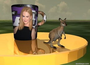 the small shiny table is on the grass ground. the [nicole] mug is on the table. it is cloudy. the extremely tiny kangaroo is a couple of inches to the right of the mug. it is facing right.