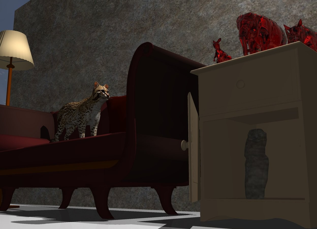 Input text: the tan table is a few inches to the right of the brown couch. the three very tiny red transparent animals are on the table. they are 2 inches apart.  the lamp is to the left of the couch. the large stone wall is a foot behind the couch.   a cat is on the couch. it is facing right.  the white light is 2 feet above the animals. the camera light is dark grey.  the very tiny stone sculpture is 2 feet in the table.