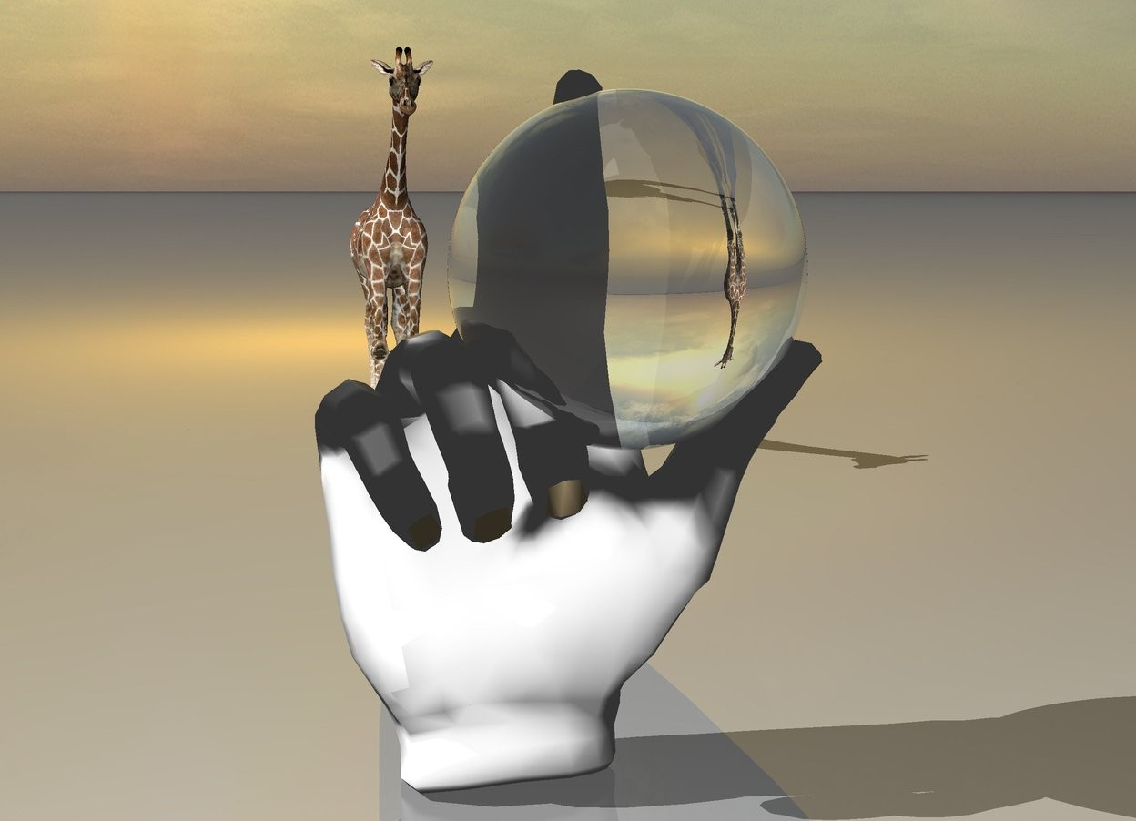 Input text: The transparent sphere is in the giant hand. The very large orange light is 1 foot above the ground. it is 10 foot behind the hand.  the  tiny giraffe is 4 feet behind the hand.