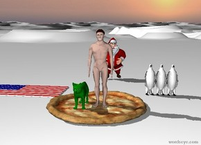 The man is on top of the giant pizza. Next to him is a big green cat. The carpet is American. The ground is snow. Santa is ten feet to the back of the man. There are three penguins.
