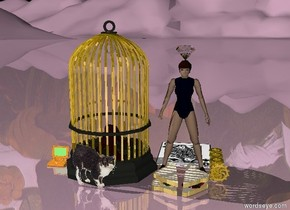 The woman to the right of a huge metal bird cage. To her right are five big gold gears. The sky is meat. The ground is lilac. The enormous diamond is on the woman. Behind her is the enormous queen of clubs.  To the left of the bird cage is a computer. A cat is in front of the bird cage. A huge sandwich is in front of the woman.